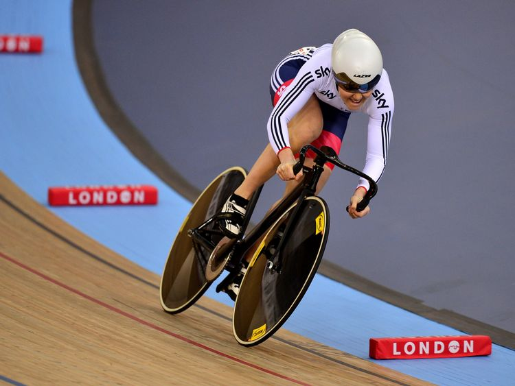Varnish competing in the UCI Track Cycling World Championships in London in 2016