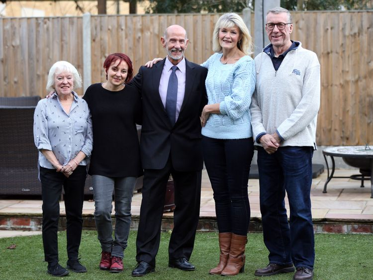Teresa Dobson (second right) who donated her kidney to Joe Salvatore (centre) meet for the first time along with Joe's wife and daughter, Margaret Salvatore and Carmel Dalby (left), and Teresa's husband Richard Dobson.