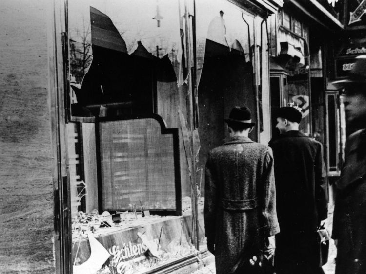 A smashed Jewish shop window in Berlin following riots of the night of 9 November 1938