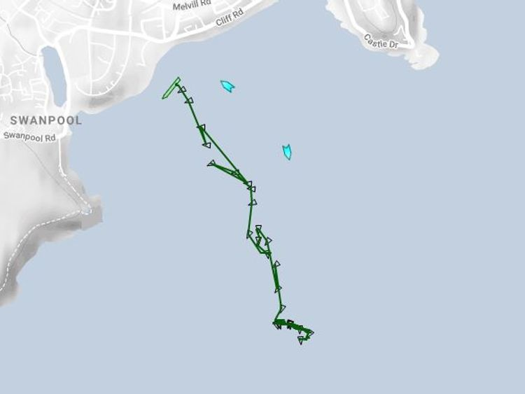 Tracking data shows the Kuzma Minin started dragging its anchor at 11.30pm on Monday. Pic: Crondall Weather