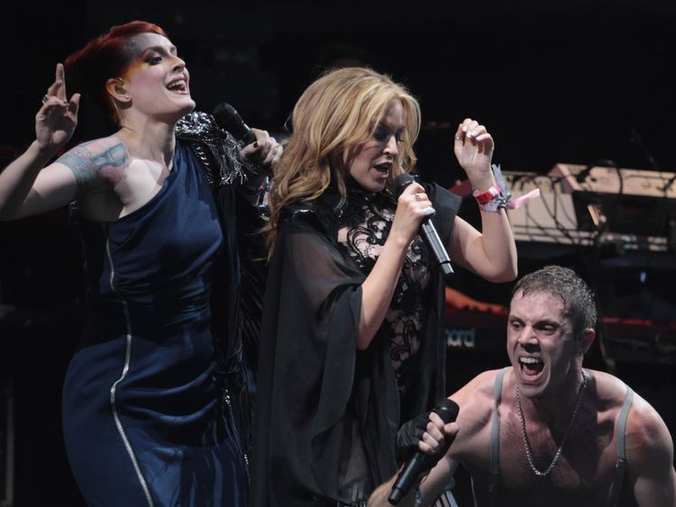 Kylie Minogue on stage with the Scissor Sisters on June 26, 2010 at Glastonbury