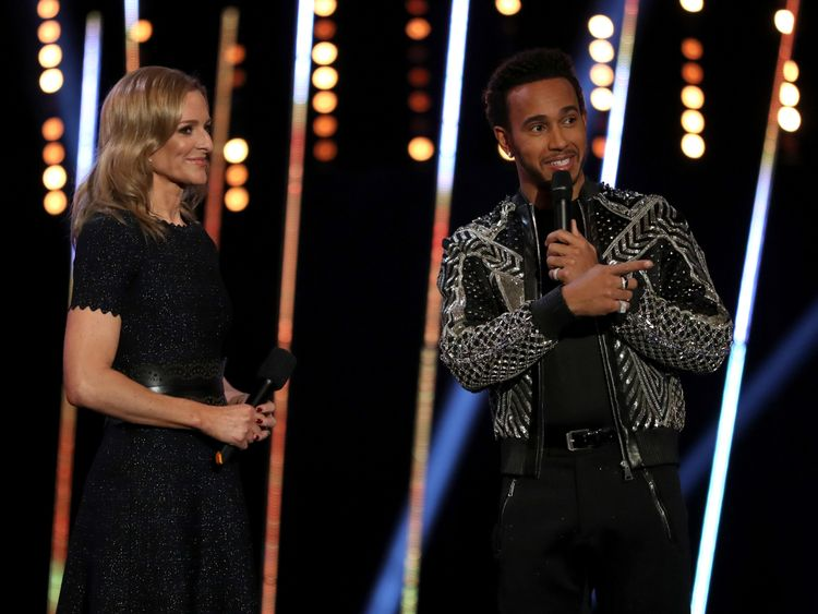 Lewis Hamilton was interviewed on stage by Gabby Logan
