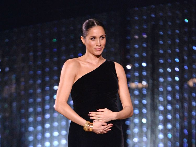 Meghan Duchess of Sussex on stage during The Fashion Awards 2018 at the Royal Albert Hall