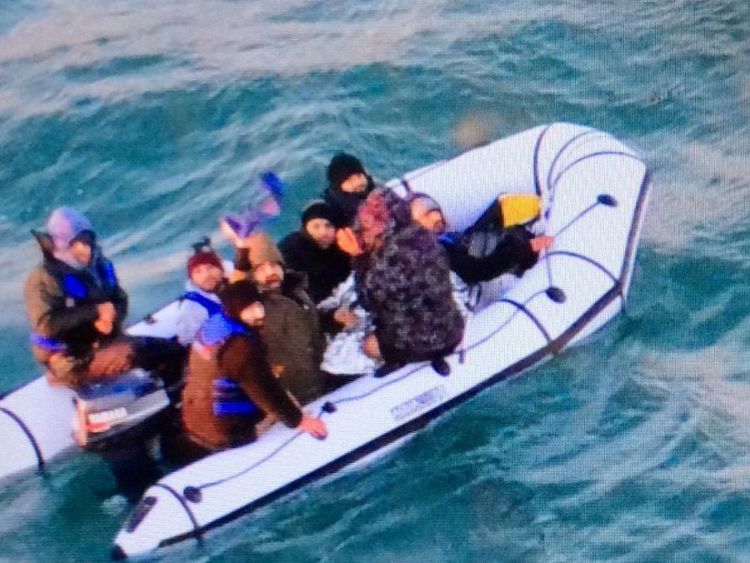 The French Navy posted a photograph of the migrants. Pic: Twitter/Marine Nationale