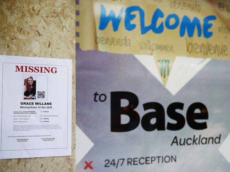 Ms Millane was staying at the Base backpackers hostel in central Auckland prior to her disappearance