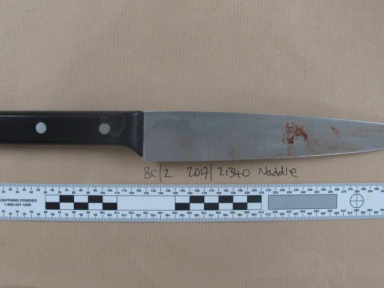 The knife used to kill Mohamed Aadam Mohamed