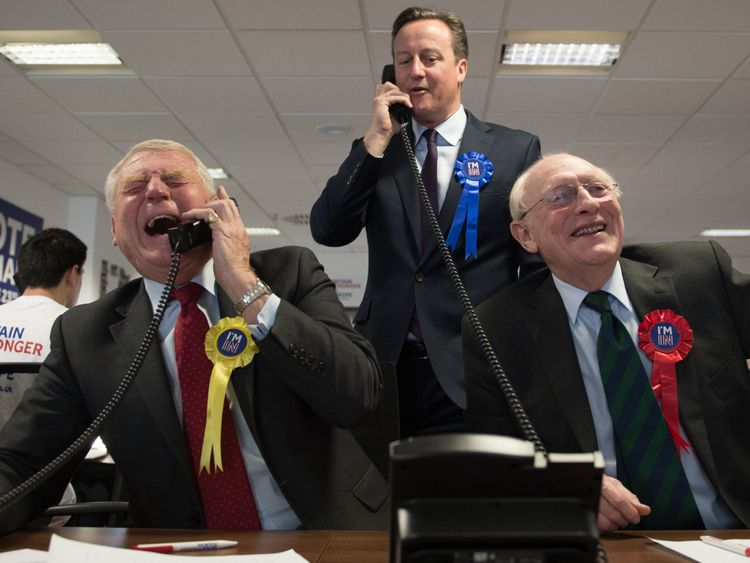 Paddy Ashdown campaigns ahead of the EU referendum with David Cameron and Neil Kinnock