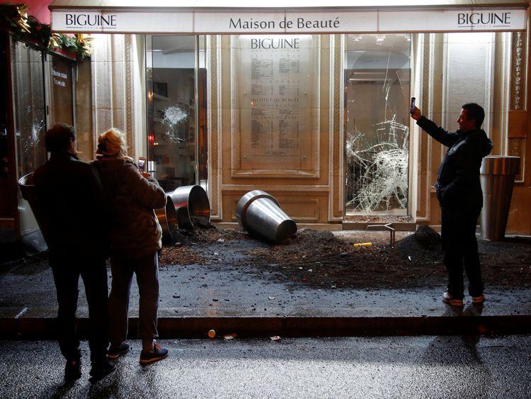 Shops were vandalised in a third weekend of demonstrations