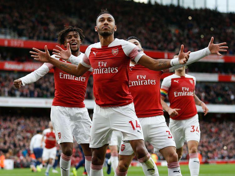 Gabon striker Aubameyang scored two goals for the Gunners