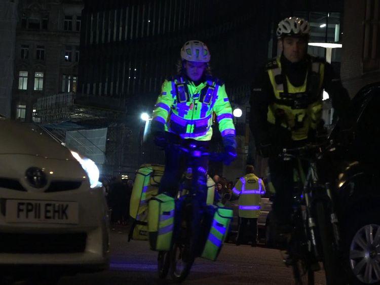 Police and paramedics use bicycles