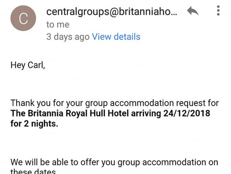 Carl Simpson provided the confirmation email for his booking for 28 homeless people over Christmas. Pic: Facebook