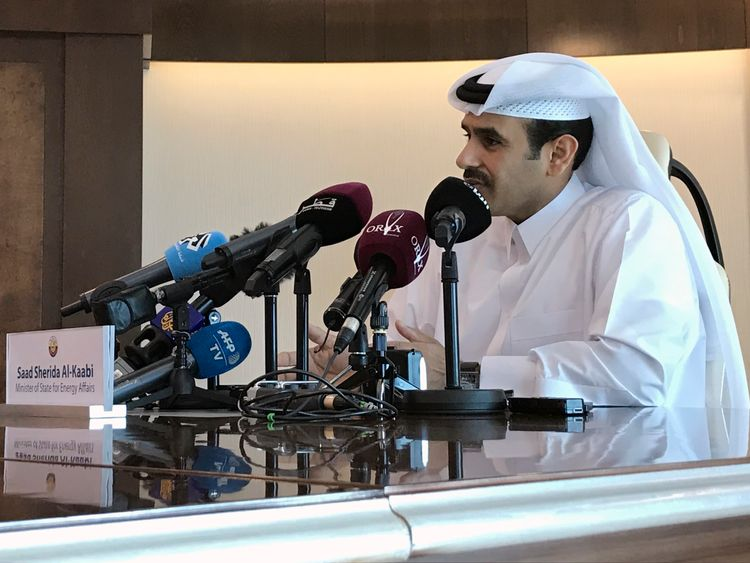 Saad al Kaabi explains Qatar's decision to leave OPEC at a news conference in Doha