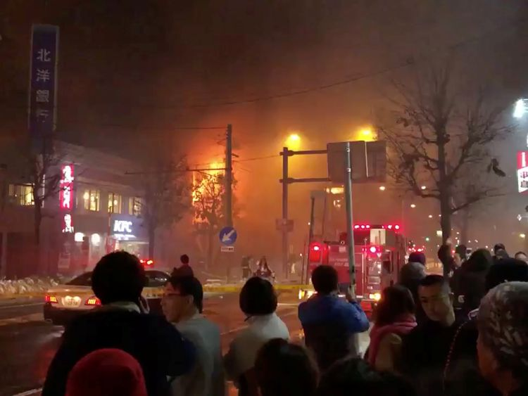 A view of a site of an explosion at a bar in Sapporo, Japan, December 16, 2018. Pic: Keita Toyoshima