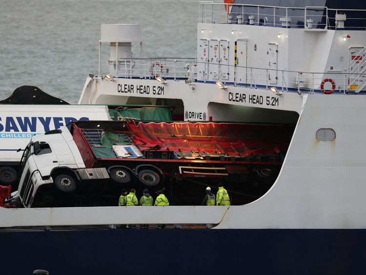 Toppled lorries on board the European Causeway, a P&O Ferry which was travelling from Larne in Northern Ireland to Cairnryan Ferry Terminal, Wigtownshire, when it was caughtin high winds. PRESS ASSOCIATION Photo. Picture date: Tuesday December 18, 2018. Several ambulances were sent to the scene along with police, the fire and rescue service and the coastguard, after six vehicles shifted on board the ferry, causing damage. See PA story POLICE Ferry. Photo credit should read: Andrew Millligan/PA W