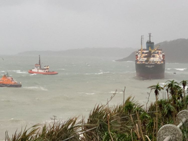 Lifeboats come to the aid of the Kuzma Minin, a 16,000-tonne Russian cargo ship, run aground off Gyllyngvase Beach in Cornwall. Pic: Nigel Kitto/PA Wire