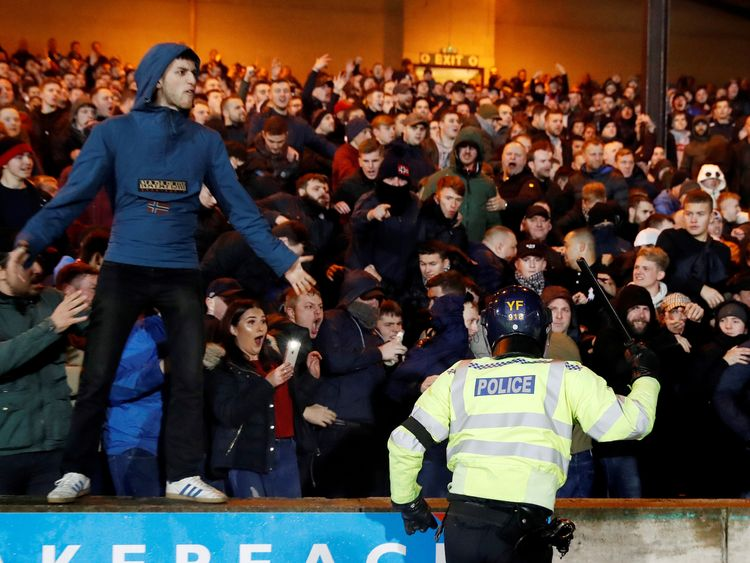 """Soccer Football - Checkatrade Trophy - Second Round - Port Vale v Stoke City U21 - Vale Park, Stoke-on-Trent, Britain - December 4, 2018 Riot police inside the stadium look on during the match Action Images/Carl Recine EDITORIAL USE ONLY. No use with unauthorized audio, video, data, fixture lists, club/league logos or """"live"""" services. Online in-match use limited to 75 images, no video emulation. No use in betting, games or single club/league/player publications. Please contact your account repre"""