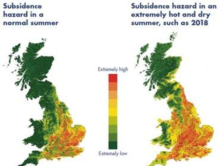 The map illustrates the risk of subsidence in an average summer compared to one that is hotter than average. Source: Crawford Report: Subsidence - The  Silent Surge
