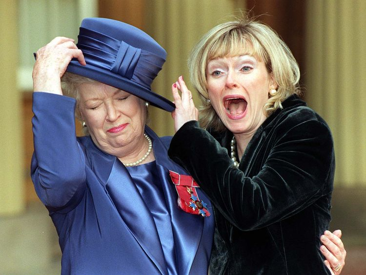 Dame June with her daughter Suzy Aitchison after being made a CBE