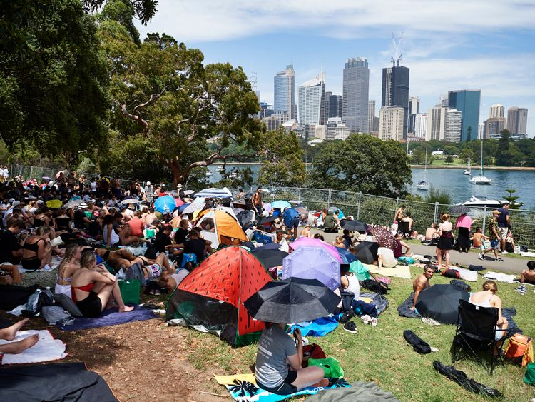 Crowds build at Mrs Macquarie's Chair during New Year's Eve celebrations on December 31, 2018 in Sydney, Australia