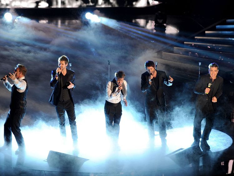 Take That performing in Italy in 2011