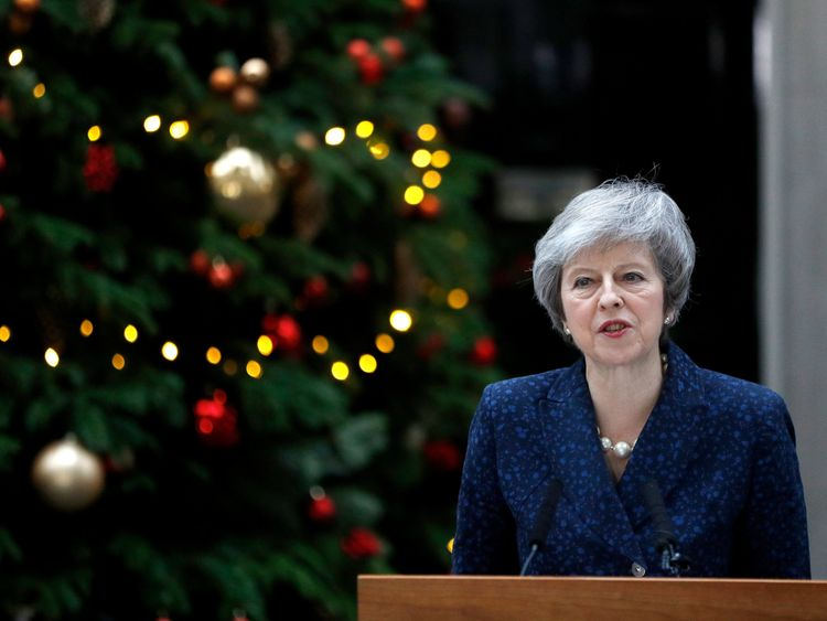 United Kingdom Prime Minister Theresa May wins vote of confidence