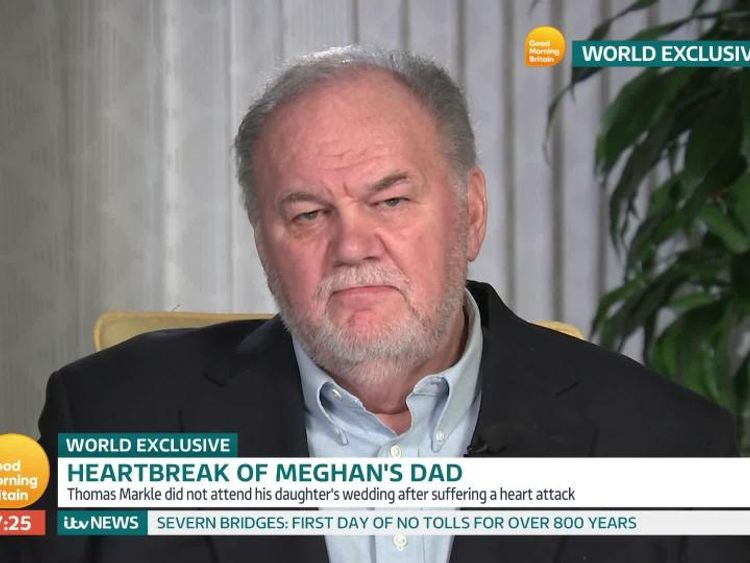 Thomas Markle says he is being 'ghosted' by Meghan