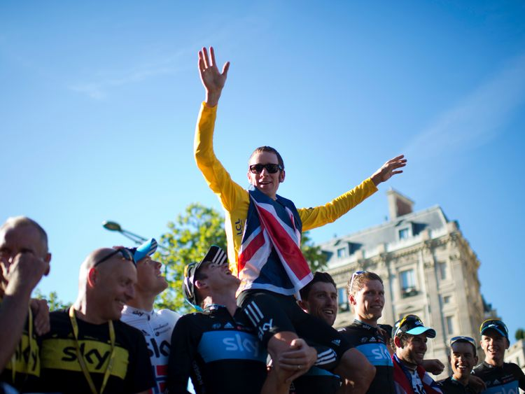 Bradley Wiggins celebrates his 2012 Tour de France win