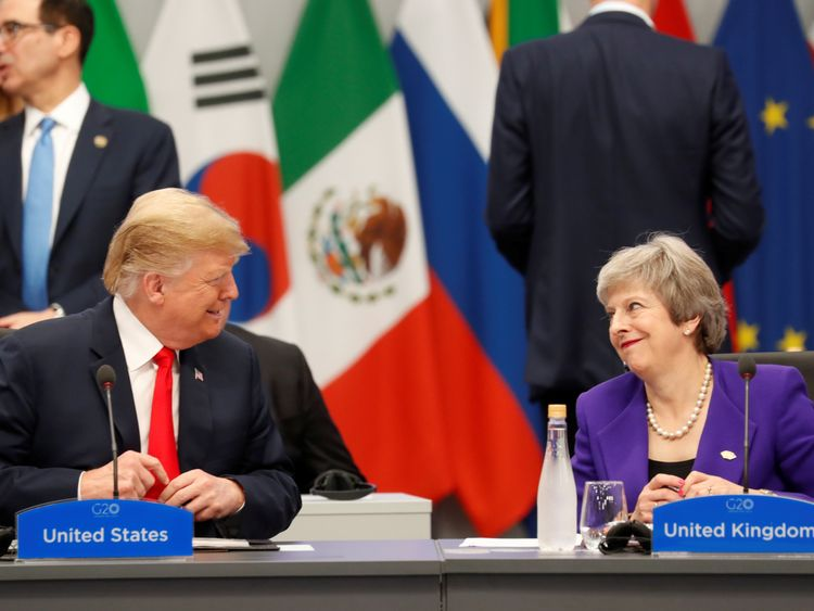 U.S. President Donald Trump and Britain's Prime Minister Theresa May attend the G20 leaders summit in Buenos Aires, Argentina November 30, 2018