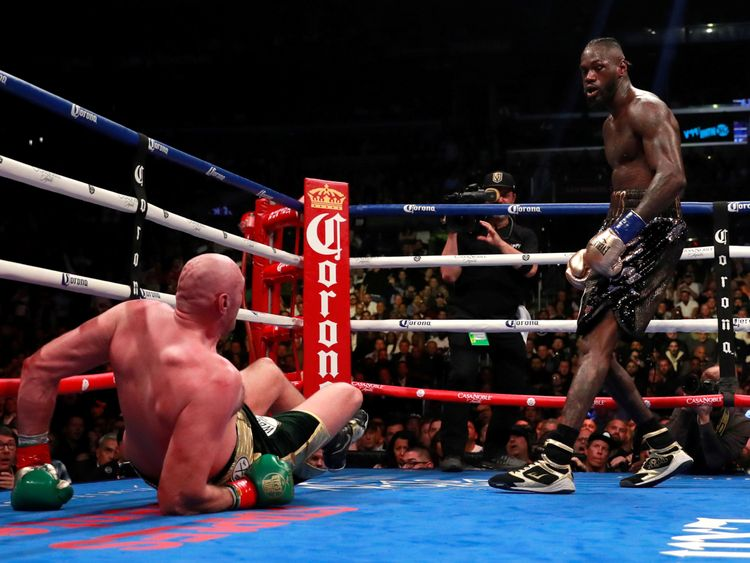 Fury after being knocked down by Wilder