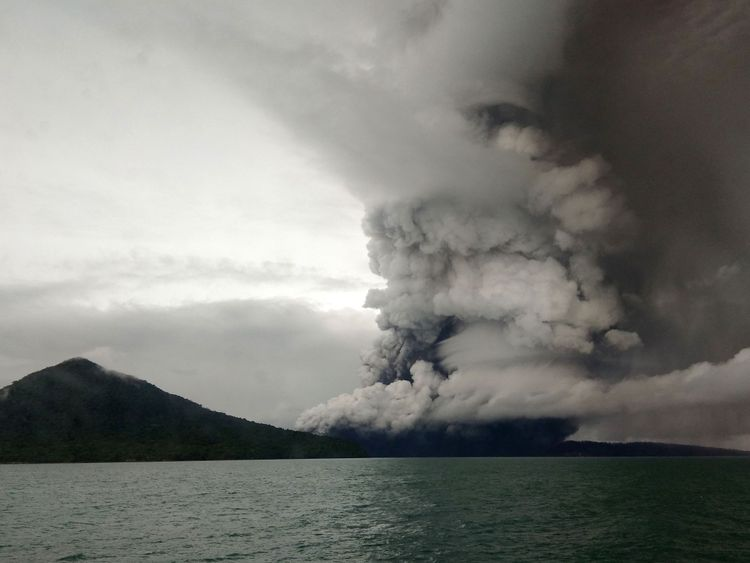 The Anak Krakatoa volcano erupting as seen from a ship on the Sunda Straits on Boxing Day 2018