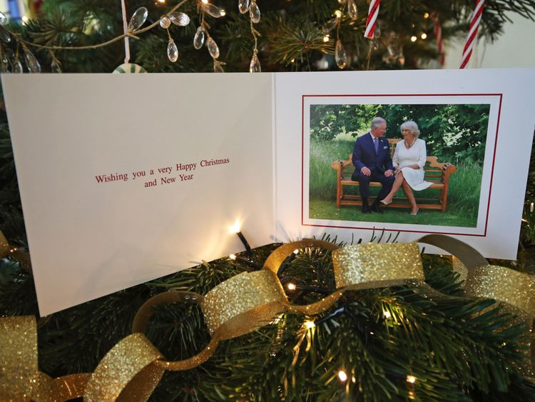 The Prince of Wales and Duchess of Cornwall are shown seated together on their card