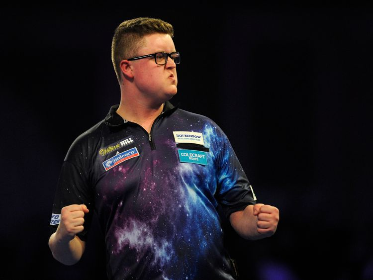 Ted Evetts of England celebrates during his match against Simon Stevenson of England on Day Two of the 2019 William Hill World Darts Championship at Alexandra Palace on December 14, 2018 in London, United Kingdom.