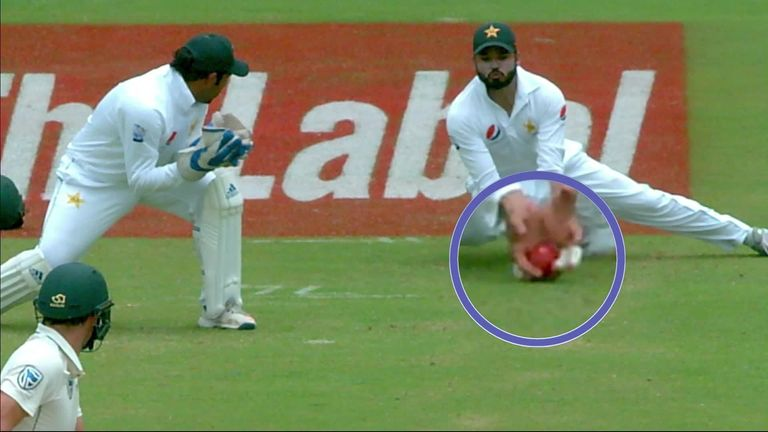 South Africa's Dean Elgar enjoyed a lucky escape against Pakistan with TV umpire Joel Wilson deciding Azhar Ali's slip catch had not been taken cleanly.