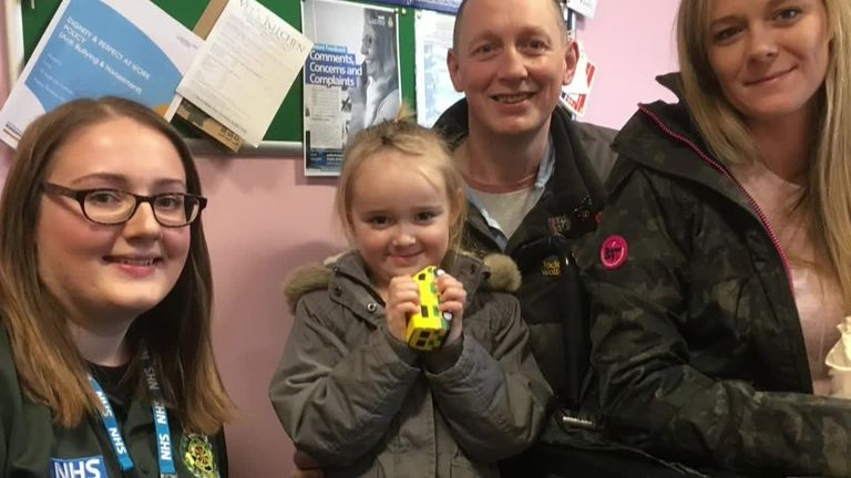 A four-year-old girl has been praised after she rang for an ambulance when  her mother had a seizure at their home