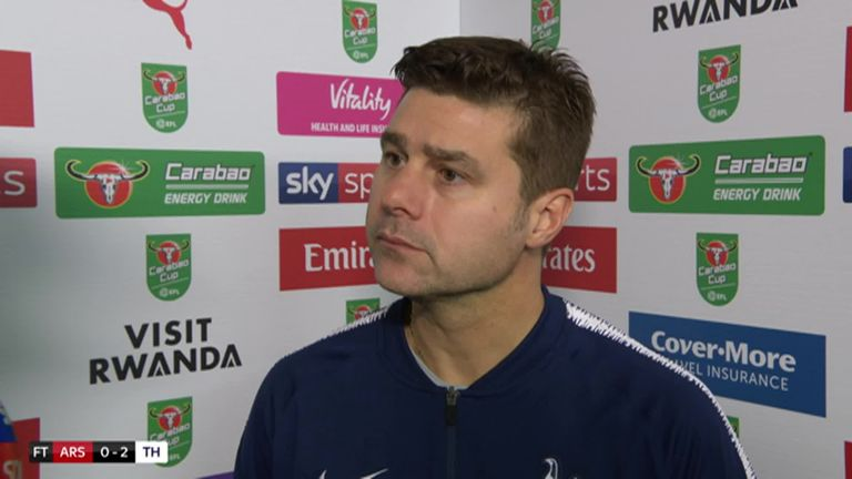2:54                                            Mauricio Pochettino says his side played at a fantastic level and deserved their Carabao Cup win over Arsenal