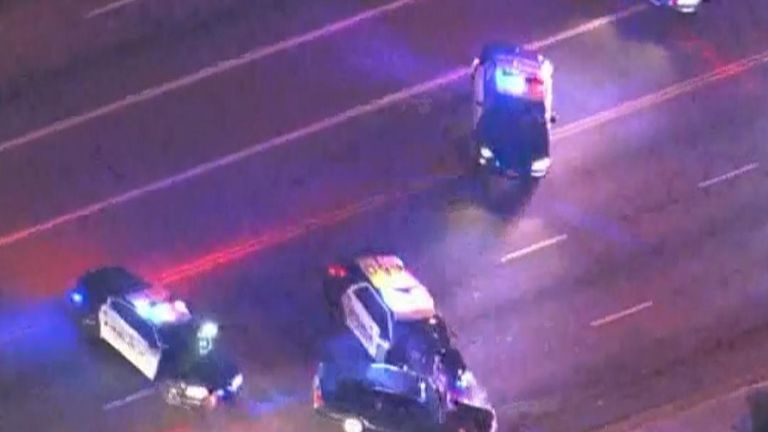 A high speed chase in Redondo Beach ended in a crash with a police car. Police took the car's occupants into custody .