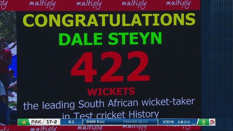 Dale Steyn became South Africa's leading Test wicket-taker when he dismissed Fakhar Zaman on day one at Centurion