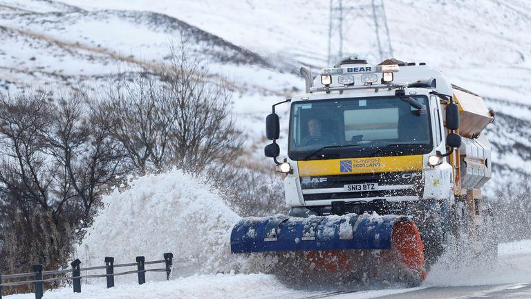 A snow plough clears the A9 near Dalwhinnie, Scotland, Britain December 16, 2018