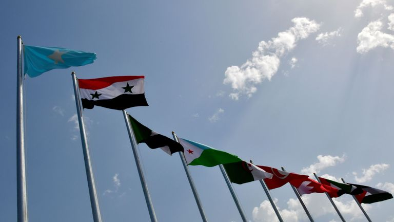 This picture shows national flags of the Arab league countries at the Ithra center during the 29th Summit of the Arab League in Dhahran in Eastern Province, Saudi Arabia on April 15, 2018. (Photo by STR / AFP) (Photo credit should read STR/AFP/Getty Images)
