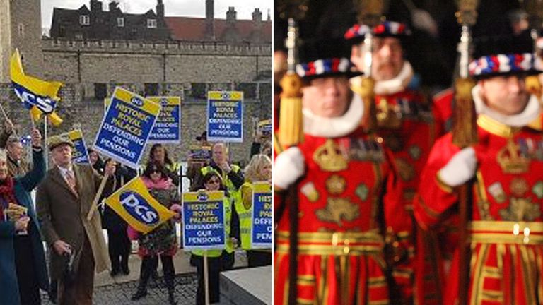 Beefeaters have held a three-hour strike over pensions at the Tower of London and other venues. Pic: PCS