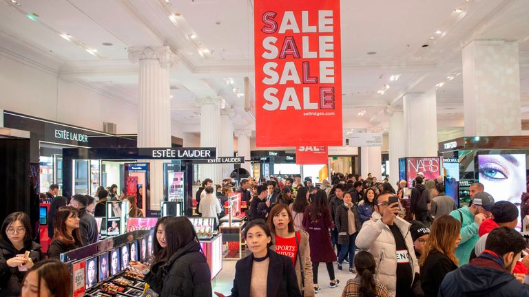 Shoppers look for bargains in Selfridges department store during the Boxing Day sale