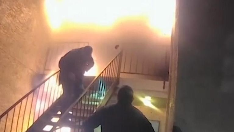 Boy is rescued from burning building in Texas