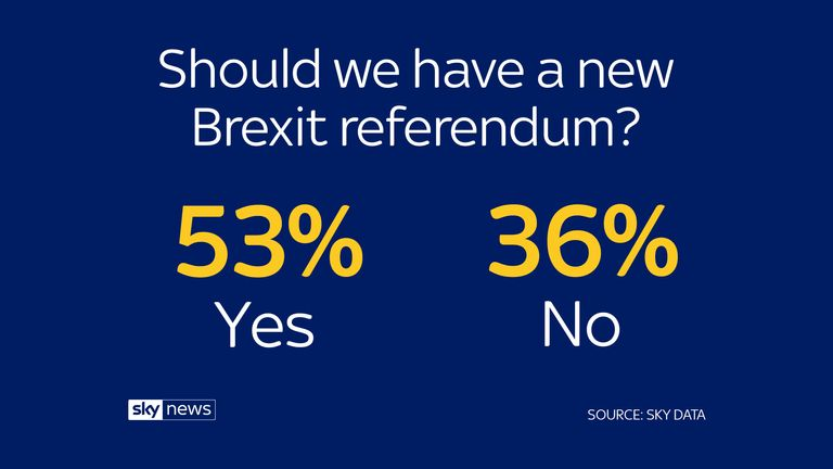 "The British public want a new Brexit referendum – but also think holding one would ""break faith with the British people"", according to a Sky Data poll."