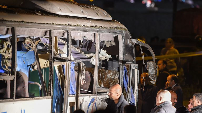 The bus was hit by a roadside bomb
