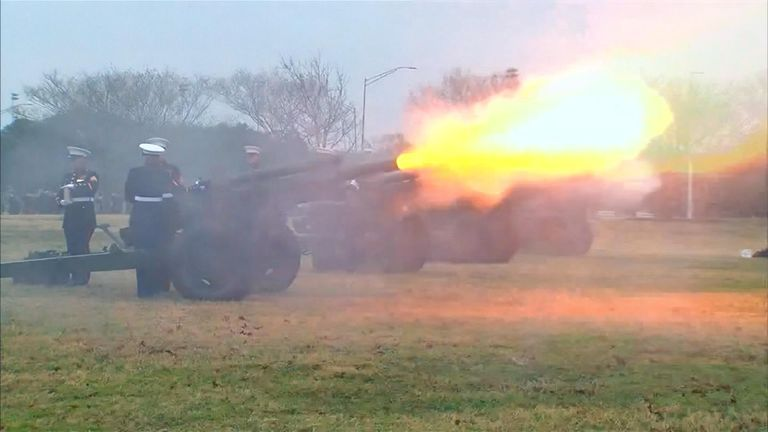 A 21-gun salute was fire as the former president was laid to rest