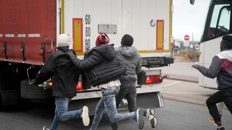 Many migrants - mostly of African origin - try to get to the UK by boarding trucks