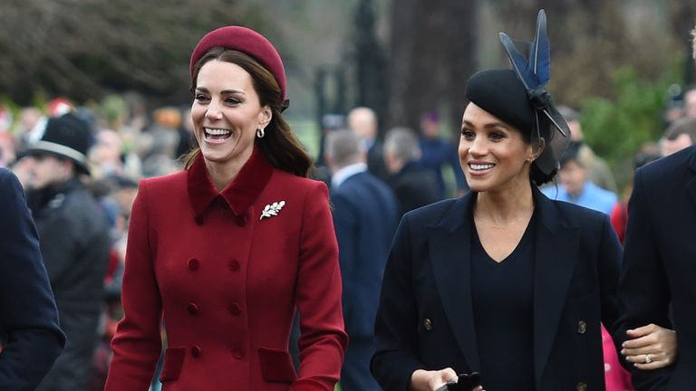 The Duchess of Cambridge and the Duchess of Sussex arriving to attend the Christmas Day morning church service at St Mary Magdalene Church in Sandringham, Norfolk