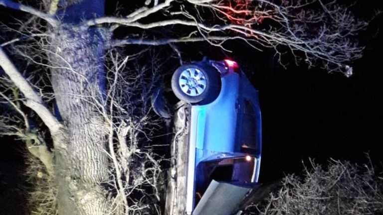 The vehicle crashed on the B4386 in Cruckton, Shrewsbury. Pic: West Mercia Police
