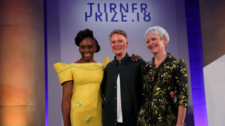 Ms Prodger poses with Tate Director Maria Balshaw (R) and author Chimamanda Ngozi Adichie, who presented the prize