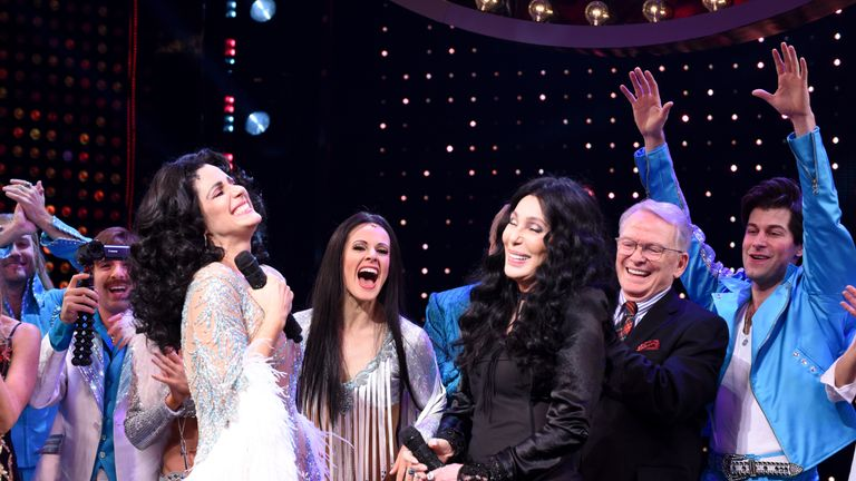 Stephanie J. Block (L) and Cher perform onstage with the cast of 'The Cher Show' at 'The Cher Show' Broadway Opening Night at Neil Simon Theatre on December 03, 2018 in New York City. (Photo by Jenny Anderson/Getty Images for The Cher Show )